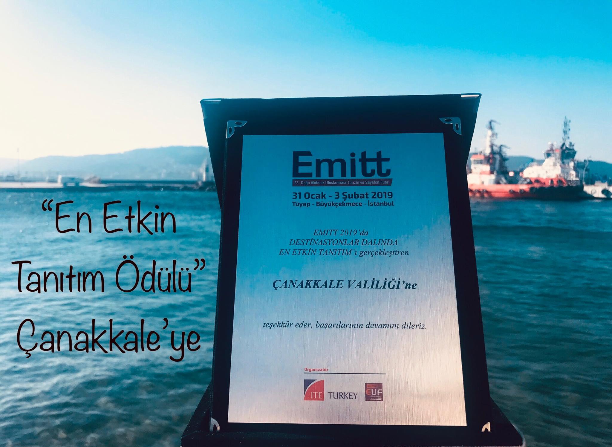 """EMITT'ten Çanakkale Valiliğine """"En Etkin Destinasyon Tanıtımı Ödülü"""""""